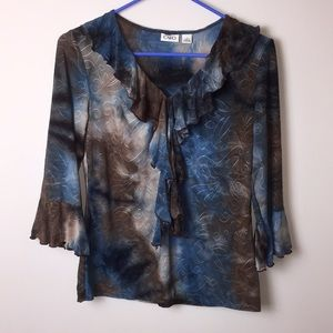 Cato brown blue top. Size small.